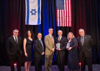 """Honoring the accomplishments of Drexel, CHOP and HebrewU's collaborative groundbreaking research on pediatric care with the 2015 Yitzhak Rabin Public Service Award (L-R): John Fry, president of Drexel University; Vered Nohi-Becker, executive director, PICC; Richard A. Bendit, Esq., president, PICC and senior vice president, assistant general counsel, Berkadia Commercial Mortgage LLC; Joseph St. Geme III, MD, physician-in-chief at CHOP; Robert Levy, MD, Dream Team investigator at CHOP; Amy Throckmorton, PhD, principal investigator of the """"Giving Kids a Chance"""", Drexel University; and Richard M. Fox, vice president, PICC, and managing partner, Start-up Nation (S.U.N.) Capital."""